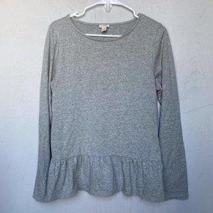J. Crew Gray Longsleeve Peplum Sweater w/ Ruffles